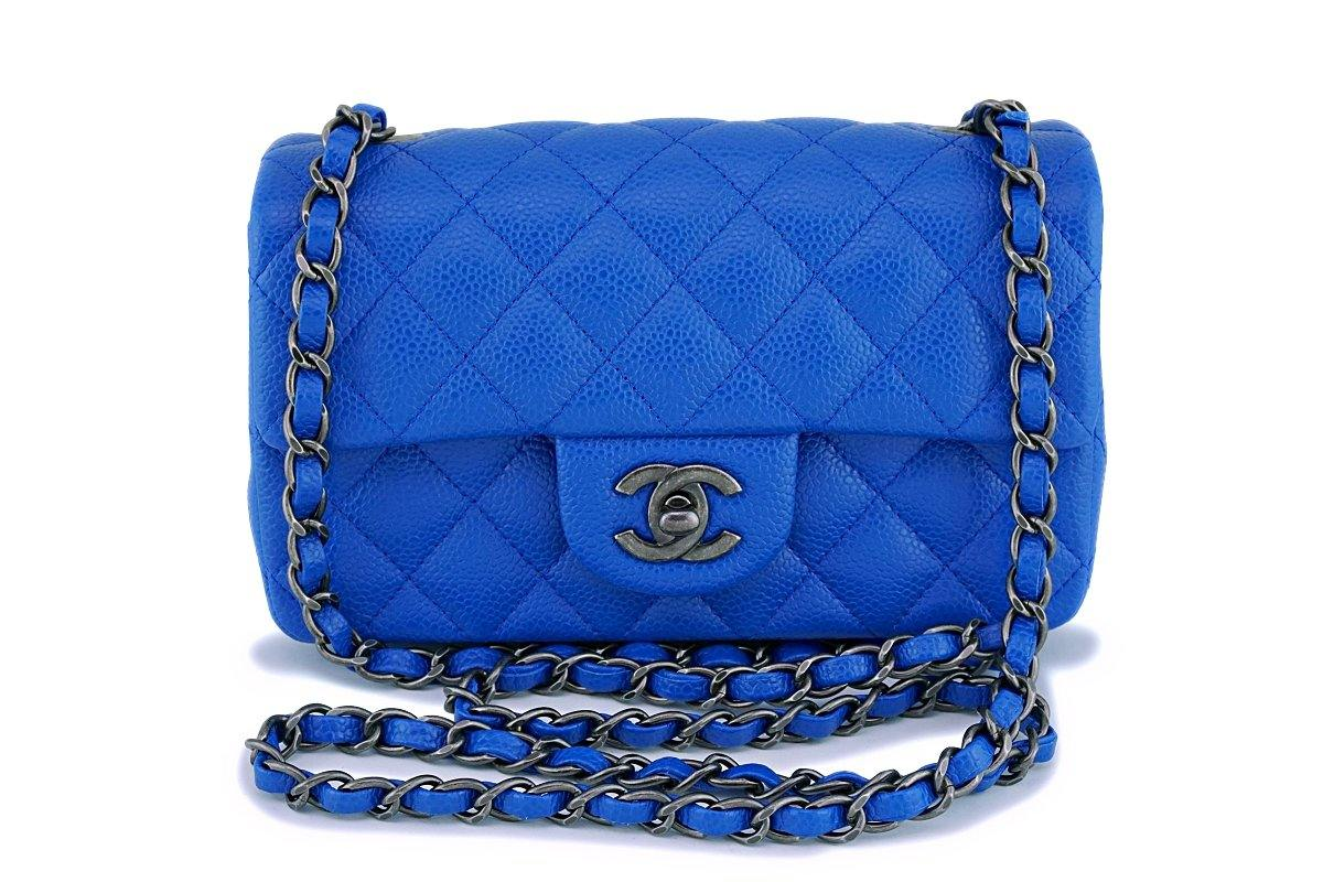 16C Chanel Blue Roi Cobalt Caviar Rectangular Classic Mini Flap Bag RHW