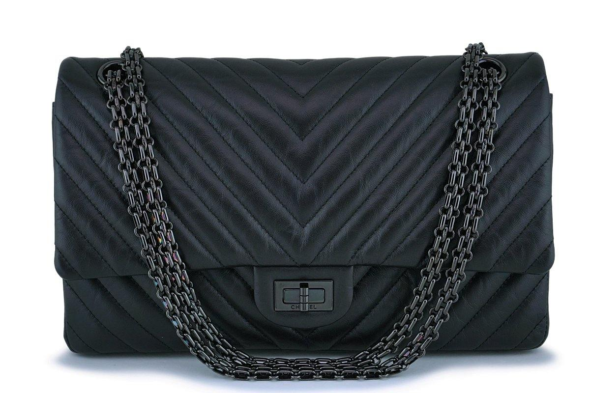 Chanel So Black 226 Medium Chevron Reissue 2.55 Classic Double Flap Bag