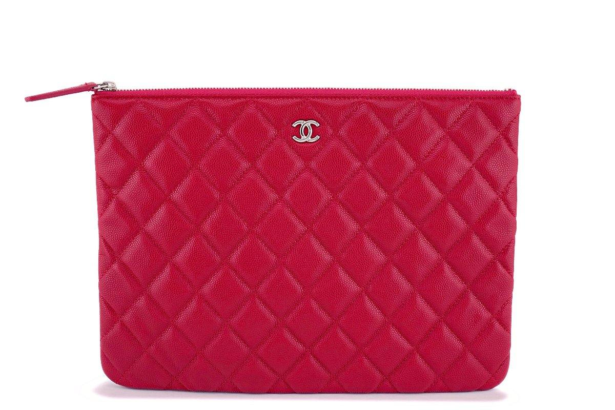 "NIB 18B Chanel ""Dark Pink"" Caviar Red O Case Clutch Pouch Bag SHW"