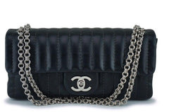 Chanel Black Lambskin Mademoiselle East West Classic Flap Bijoux Chain Bag SHW