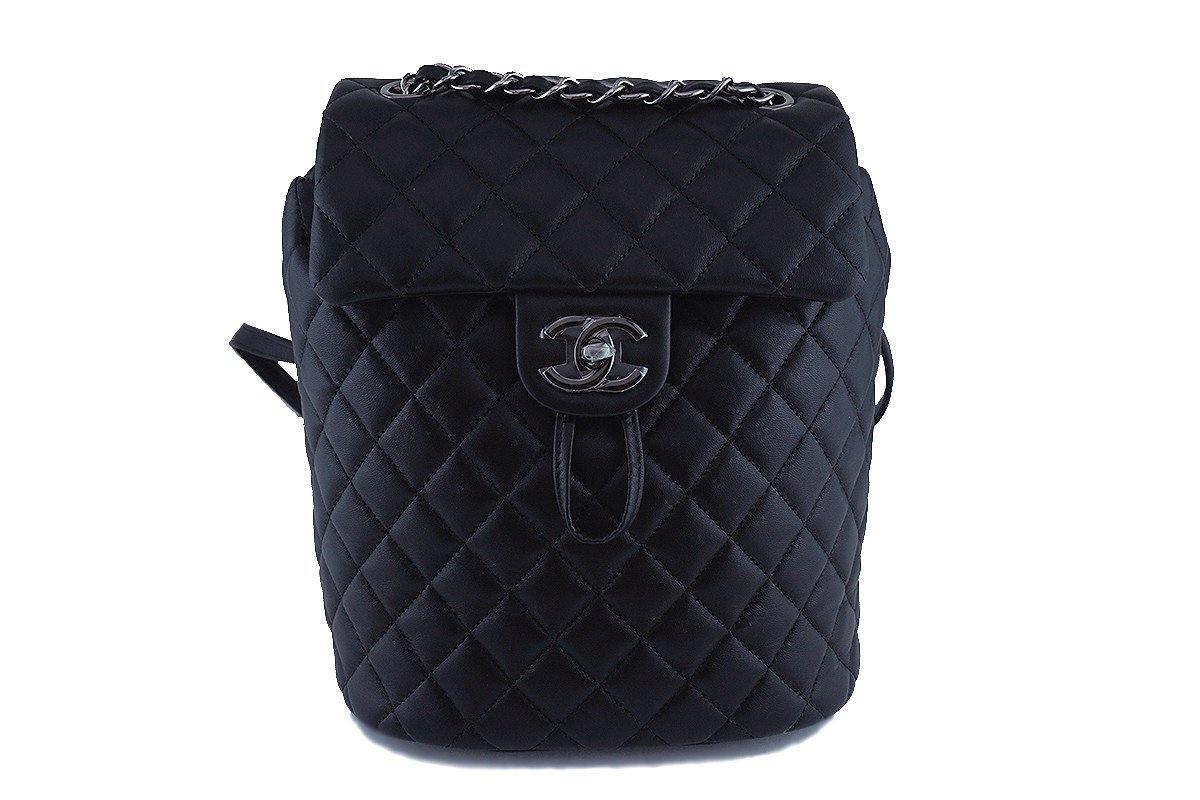 06140429521b NWT 17S Chanel Black Classic Quilted Urban Spirit Backpack Bag RHW