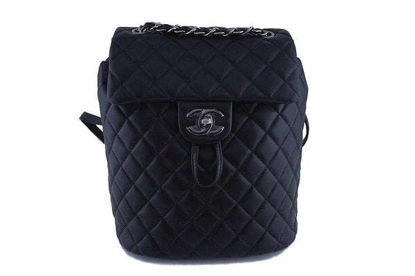 New 17S Chanel Black Classic Quilted Urban Spirit Backpack Bag RHW