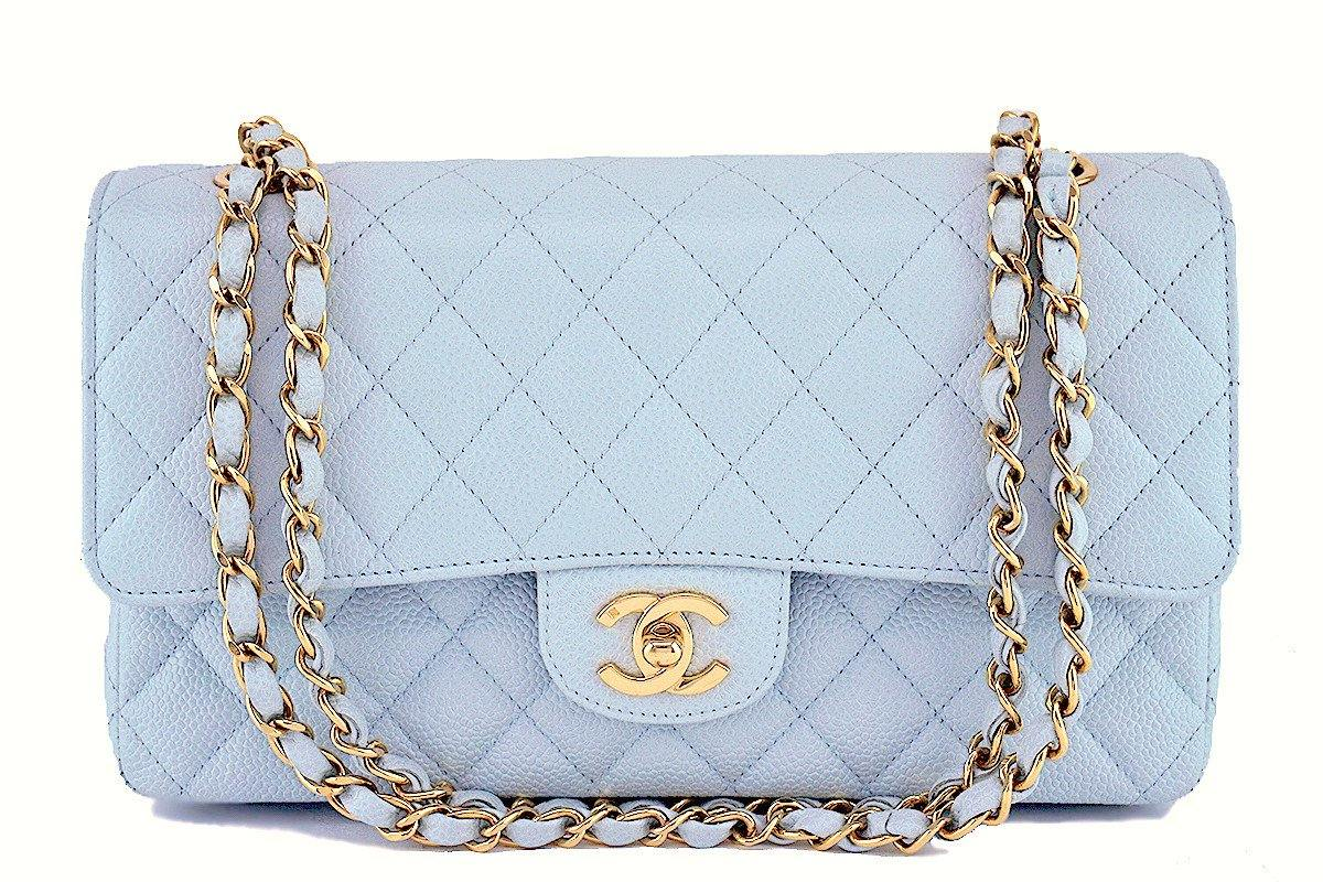58c8242e6f47cf Chanel Pale Blue Caviar Medium Classic 2.55 Double Flap Bag GHW