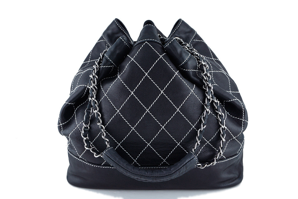 Chanel Black Large Contrast Stitch Quilted Drawstring Bag - Boutique Patina  - 1