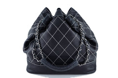 Chanel Black Large Contrast Stitch Quilted Drawstring Bag