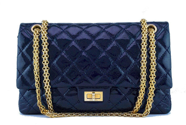Chanel Navy Blue Patent 226 Reissue Classic 2.55 Double Flap Bag