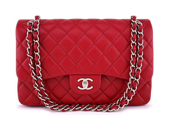 17B Chanel Red Caviar Jumbo Double Flap Bag SHW 63050