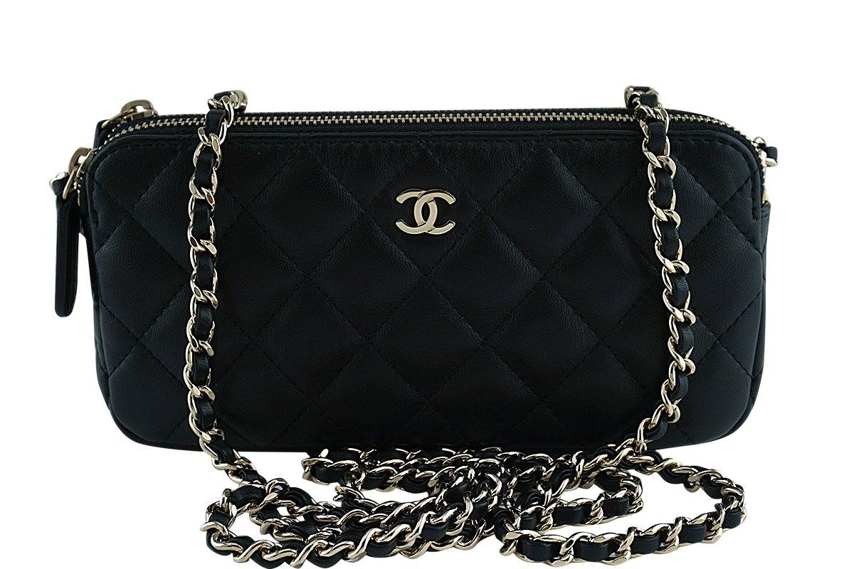 Chanel Black Mini Camera Case Zip Wallet on Chain WOC Bag