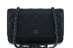 17S Chanel So Black Classic Quilted WOC Wallet on Chain Flap Bag