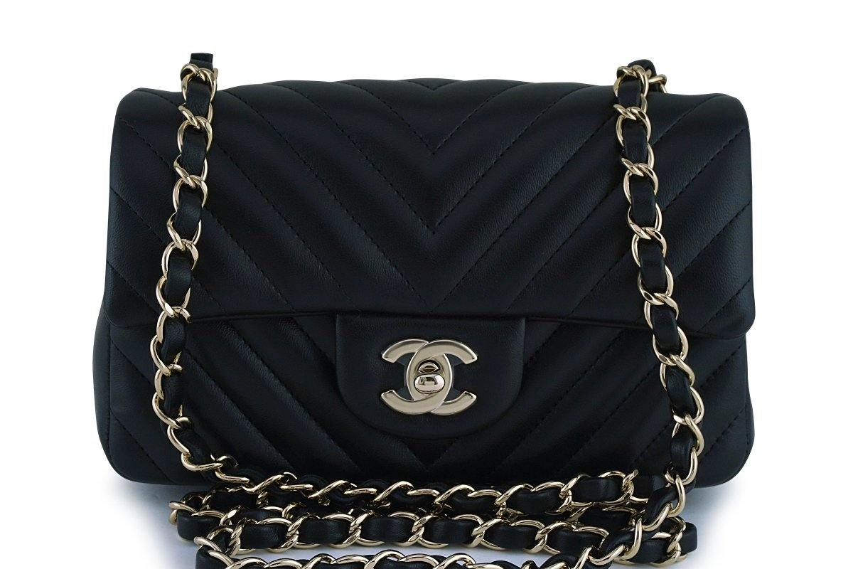 New Chanel Black Chevron Classic Quilted Rectangular Mini 2.55 Flap Bag