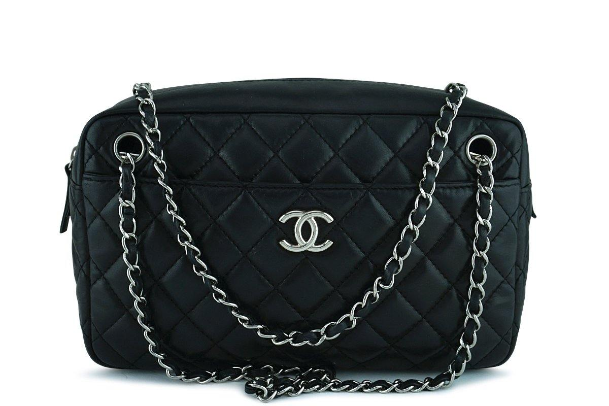 Chanel Black Classic Quilted Camera Case SHW Bag