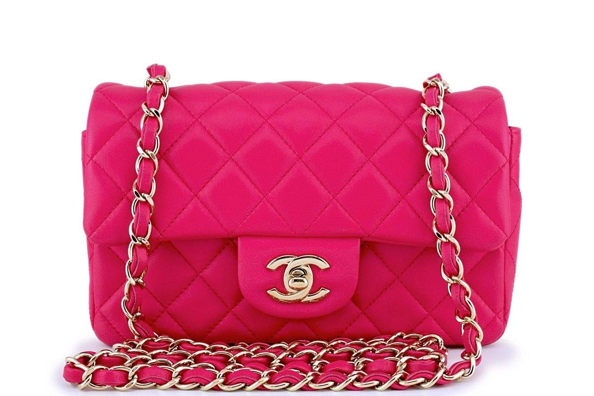 56cc8ea78084 Chanel Fuchsia Pink Rectangular Mini Classic Flap Bag GHW