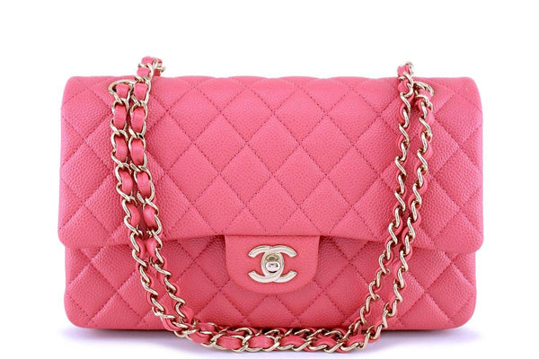 NIB 18S Chanel Pearly Pink Caviar Medium Classic Double Flap Bag