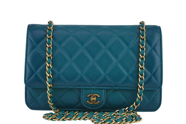 53a88edd4ea0 Chanel Blue-Green Classic Quilted WOC Wallet on Chain Flap Bag