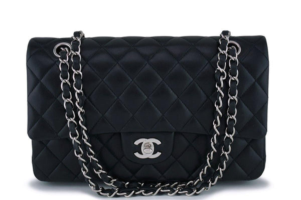 Chanel Black Lambskin Classic Double Flap Bag SHW