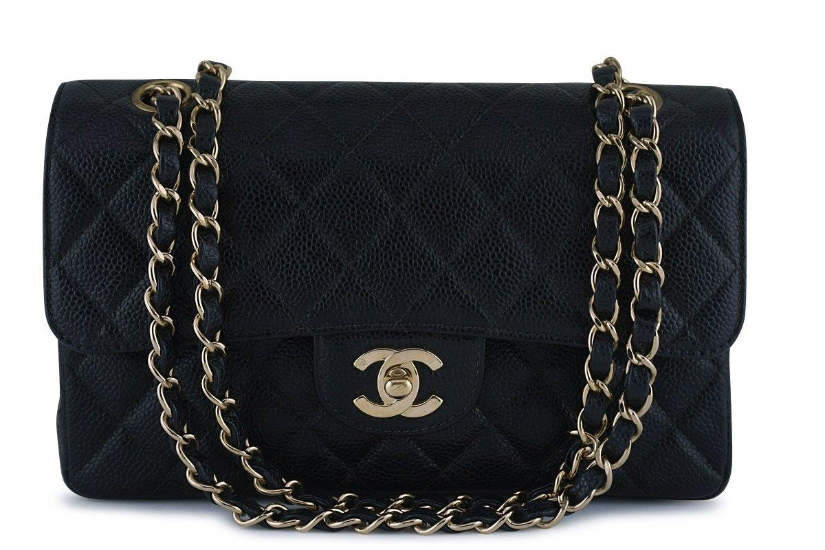 Chanel Black Caviar Small Classic 2.55 Double Flap Bag 18k Gold Plated