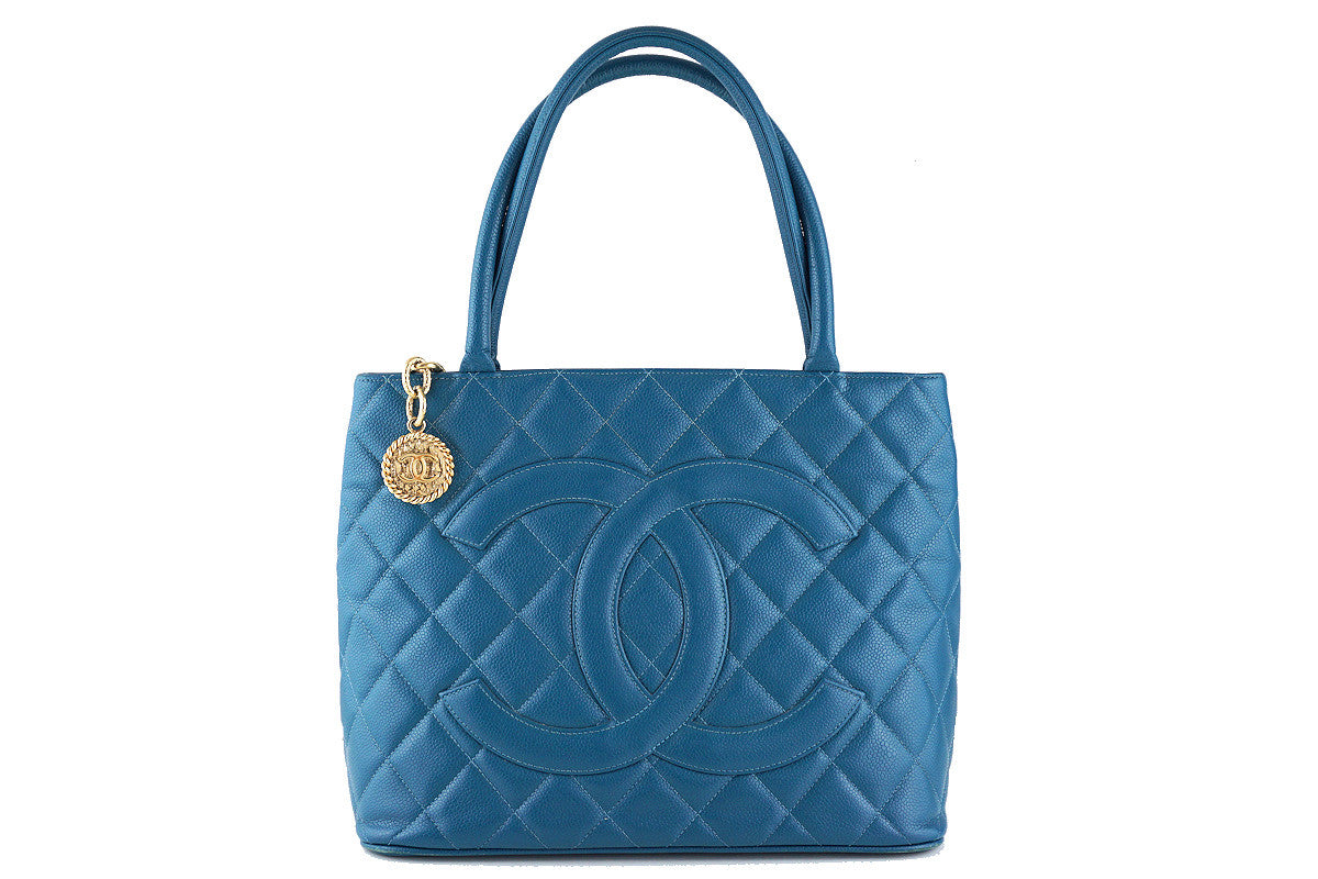 Chanel Turquoise Blue Caviar Classic Quilted Medallion Shopper Tote Bag