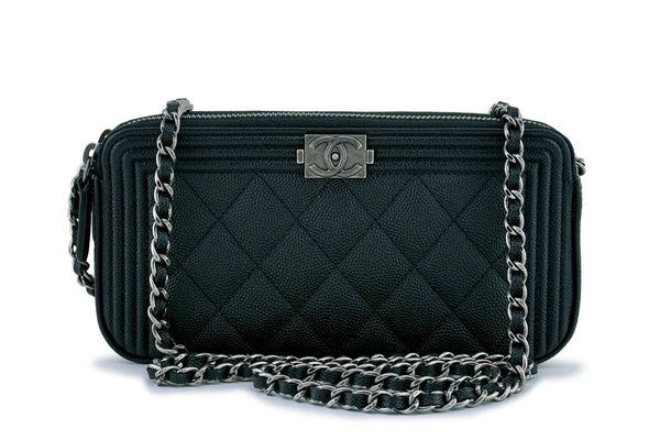 NIB Chanel Black Caviar Boy Double Zip Wallet on Chain Clutch WOC Bag