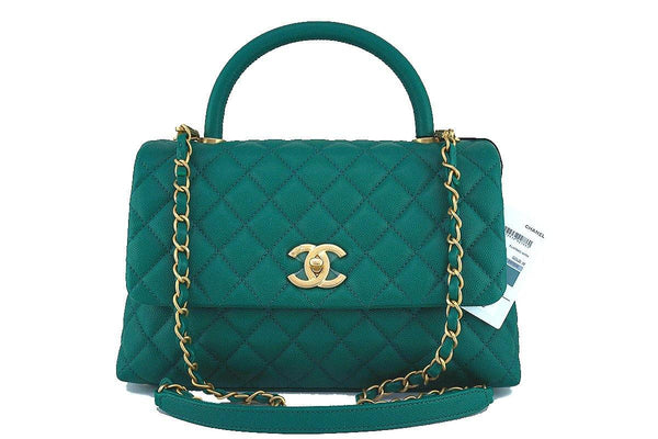 NWT 17S Chanel Emerald Green Caviar Coco Handle Shoulder Flap Kelly Tote Bag GHW