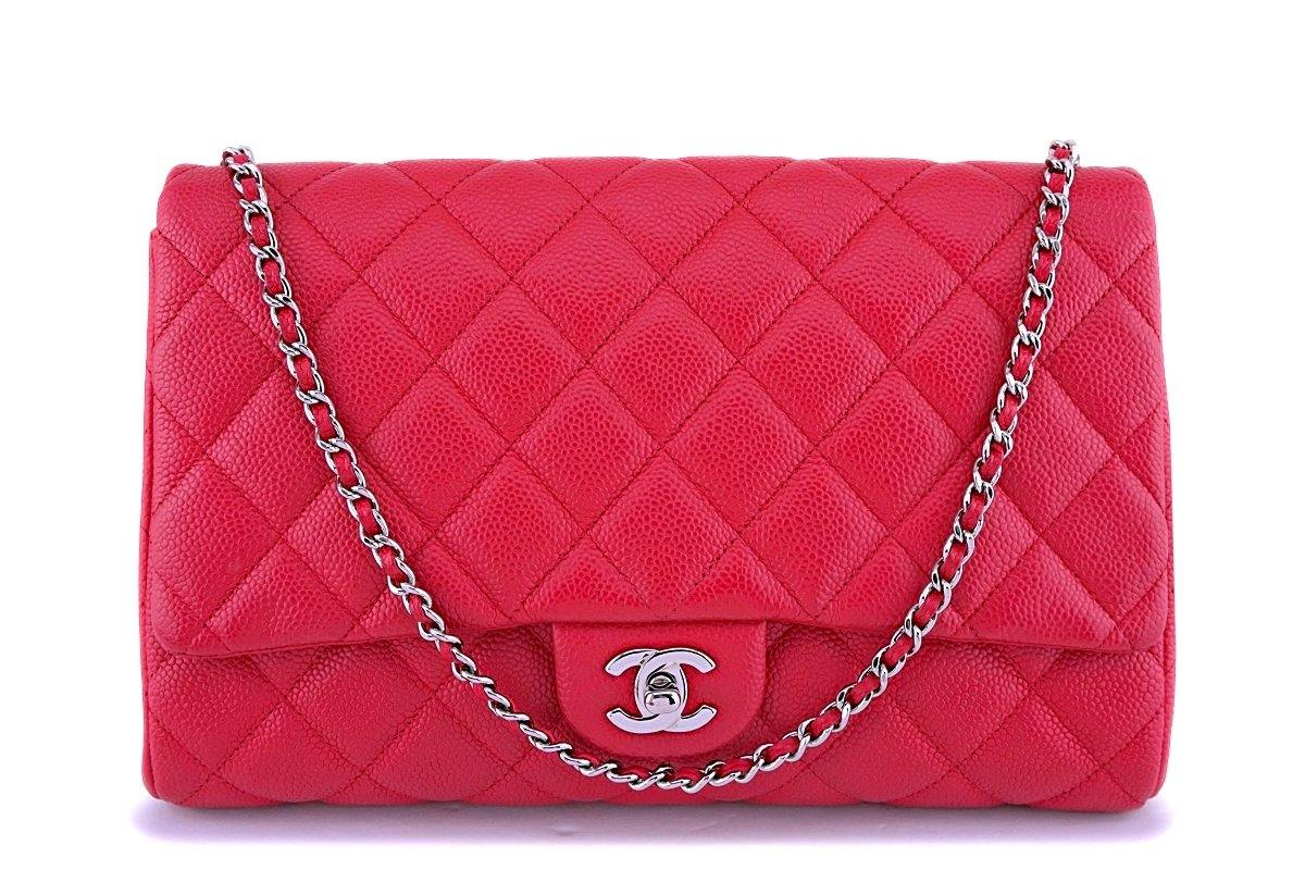 Chanel Blush Red Caviar Timeless Classic Flap Clutch w Chain Bag SHW