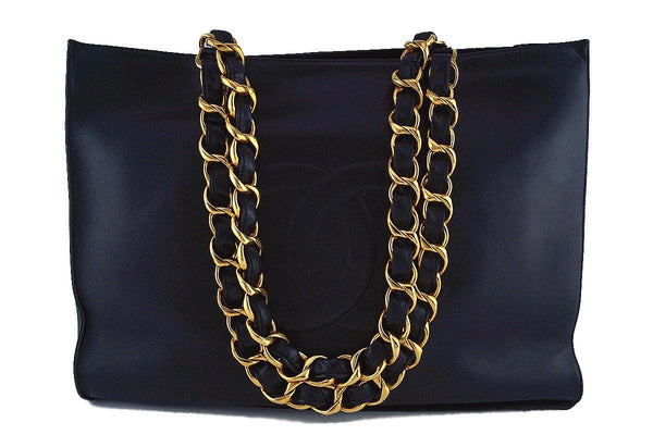Chanel Black Vintage Grand Chunky Chain GST Shopper Tote Bag
