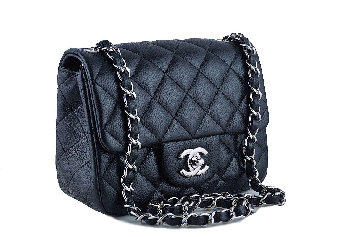 Chanel Caviar Mini Flap, Black Square 2.55 Classic Bag SHW - Boutique Patina  - 1