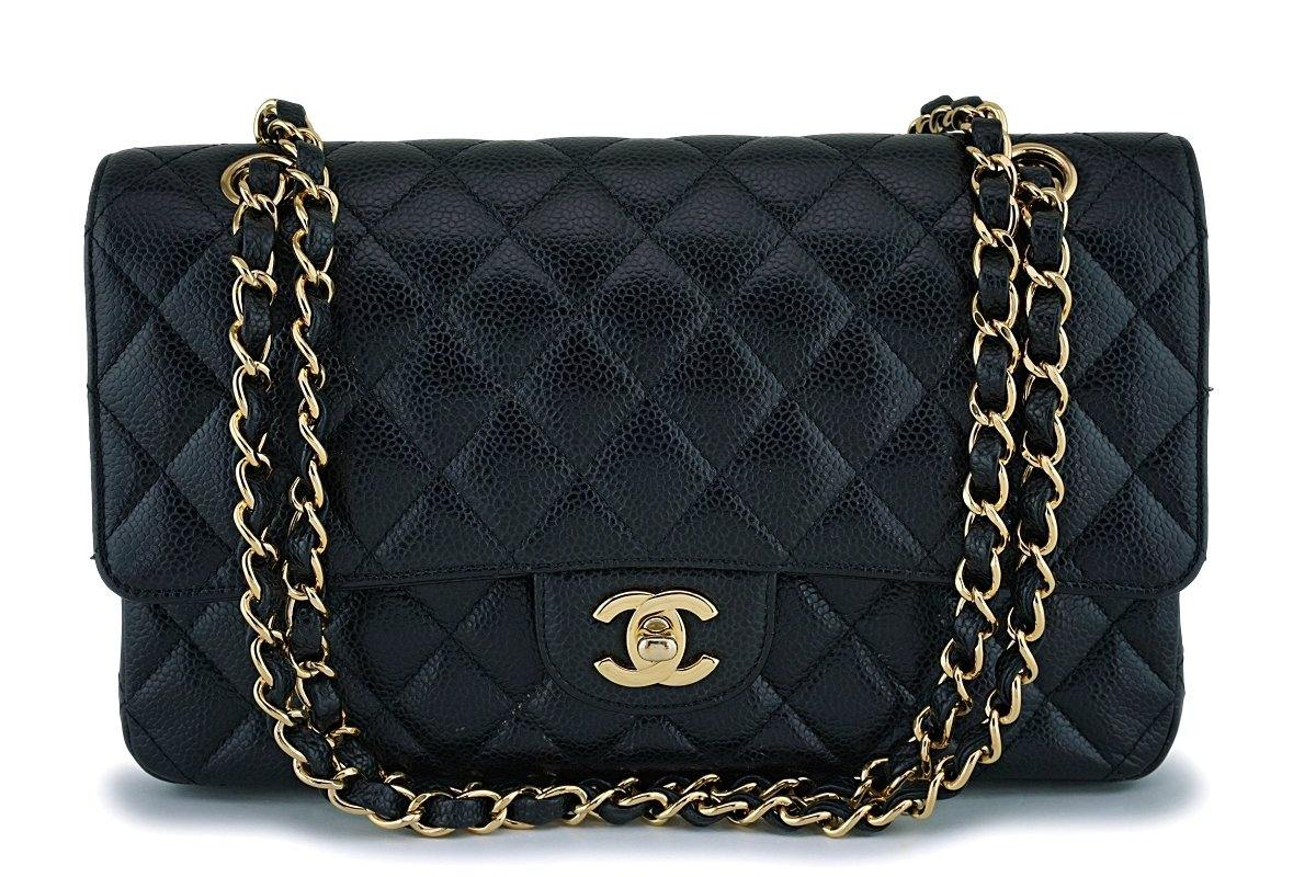 Chanel Black Caviar Medium Classic Double Flap Bag GHW