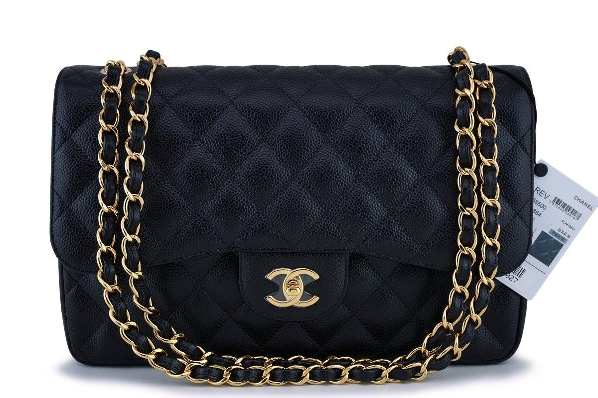 NWT Chanel Black Caviar Jumbo Classic Double Flap Bag GHW