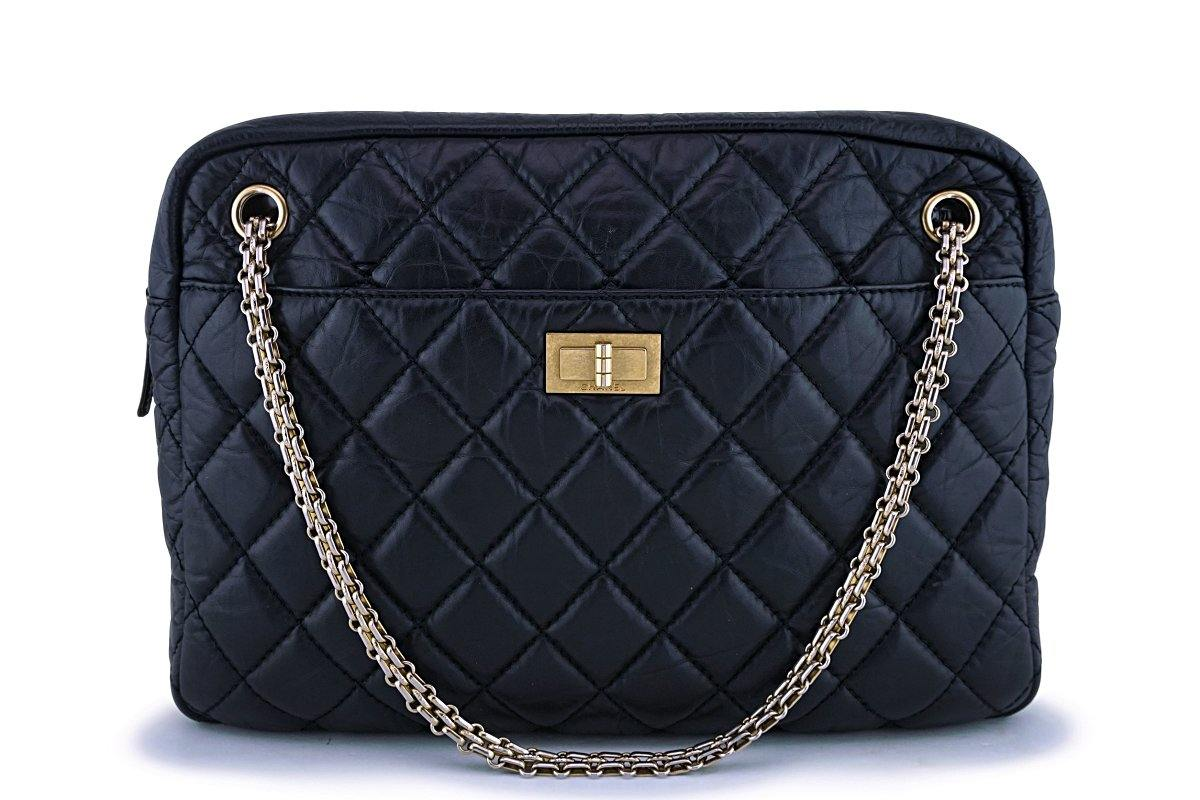 Chanel Black Aged Calfskin Classic Reissue Camera Case Bag GHW - Boutique Patina