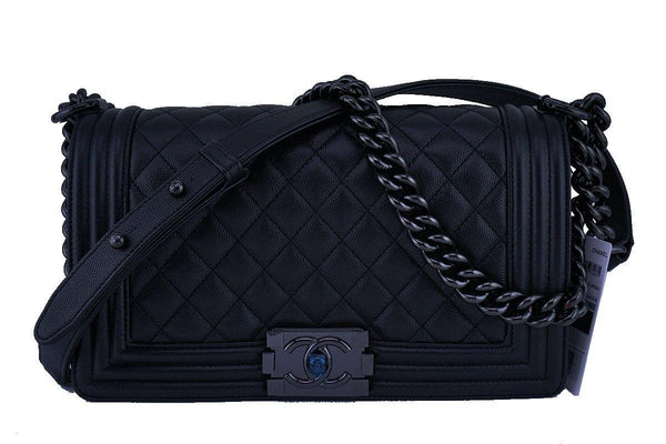 NWT 17S Chanel So Black Caviar Boy Classic Flap, Medium Bag