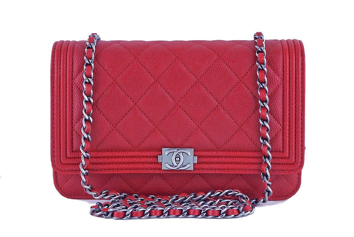 fd0ee39fc9e4 NWT 16A Chanel Red Caviar Boy Classic Quilted WOC Wallet on Chain Flap