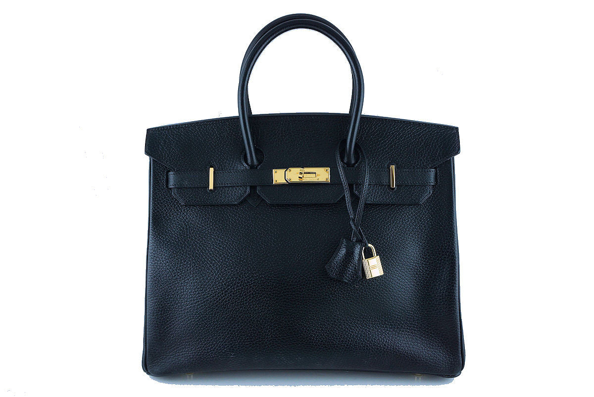 Hermes Black 35cm Birkin Bag, Vache Ardennes GHW - Boutique Patina  - 1