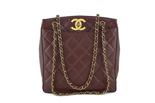Chanel Chestnut Brown Vintage Caviar Jumbo CC Shopper Tote Bag