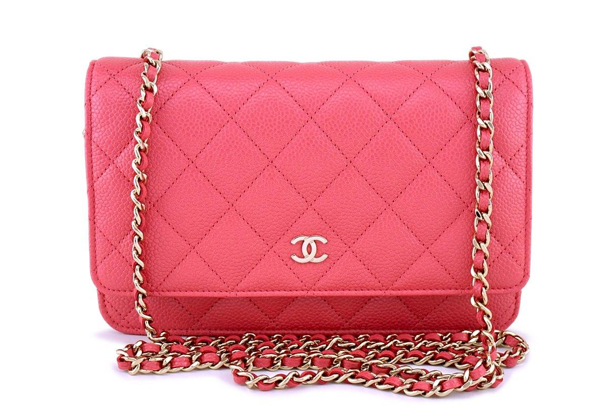 e3855b8fc45a New 18S Chanel Pink Caviar Classic Quilted WOC Wallet on Chain Flap Ba