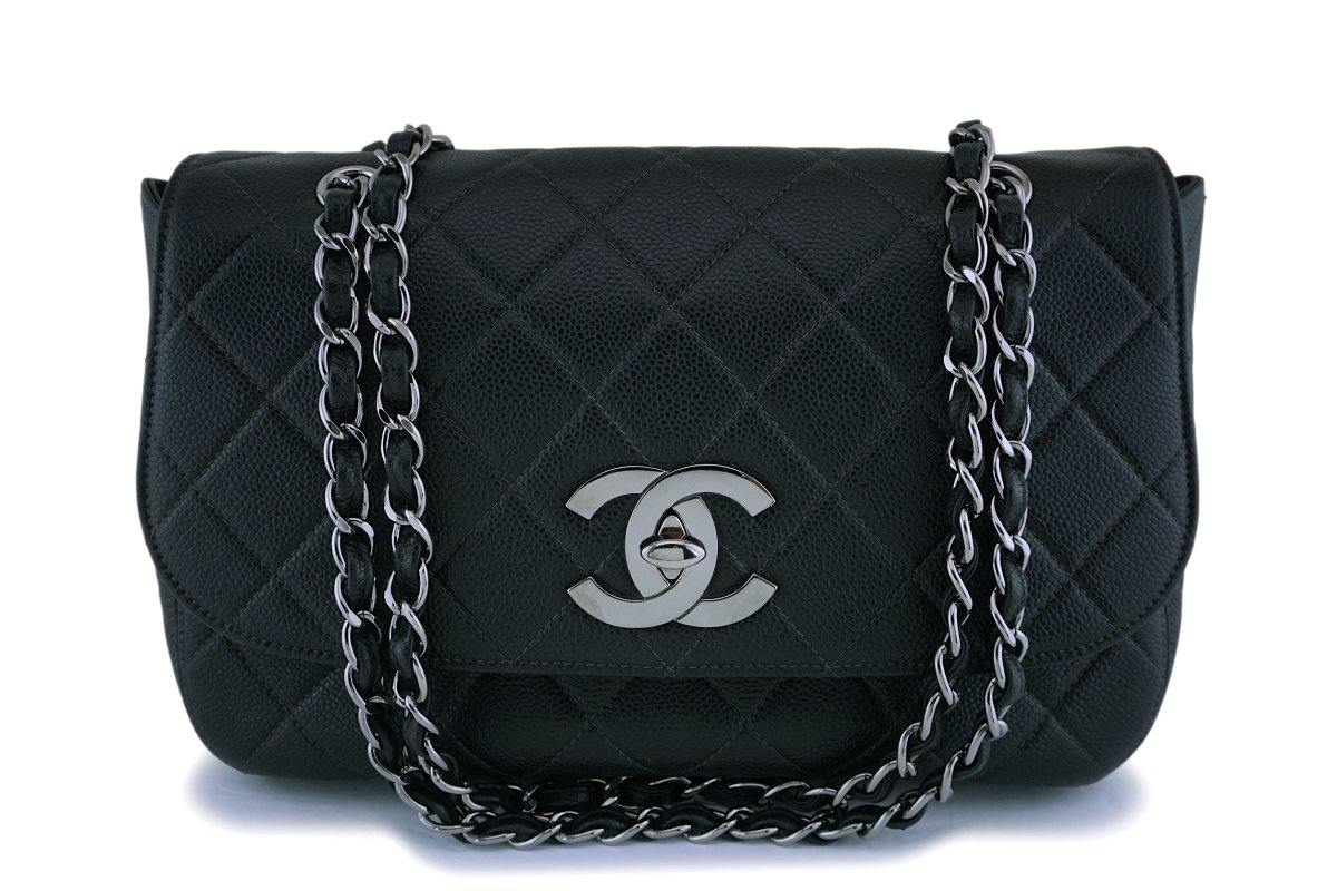 Rare Chanel Vintage Black Caviar Jumbo Classic Flap Bag RHW - Boutique Patina