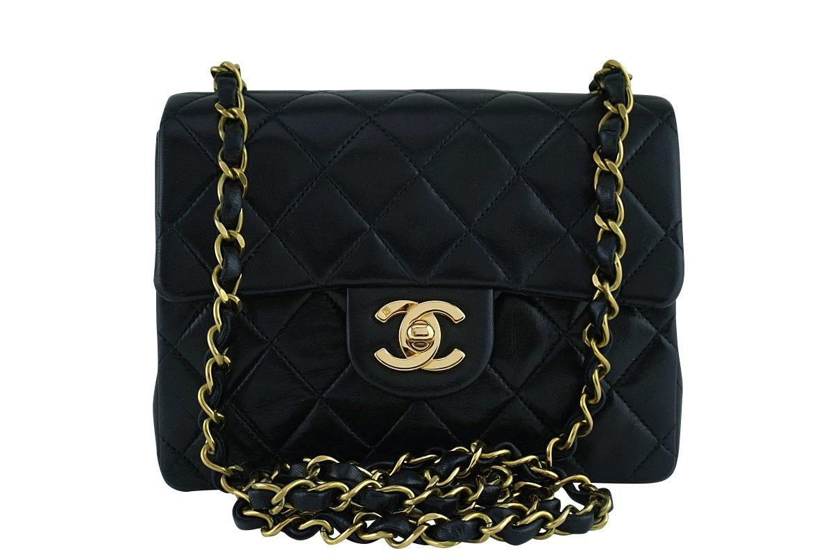 Chanel Black Classic Quilted Square Mini Flap Bag 24k Gold plated