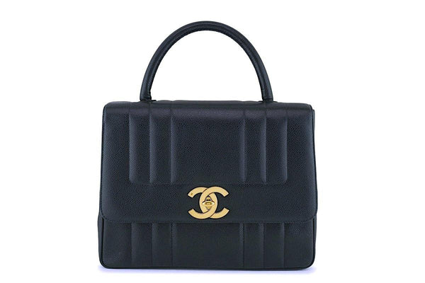 Chanel Vintage Black Mademoiselle Caviar Kelly Bag 24k GHW