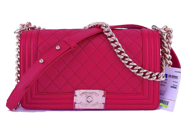 NWT 17P Chanel Caviar Fuchsia Pink Boy Classic Flap, Medium Bag