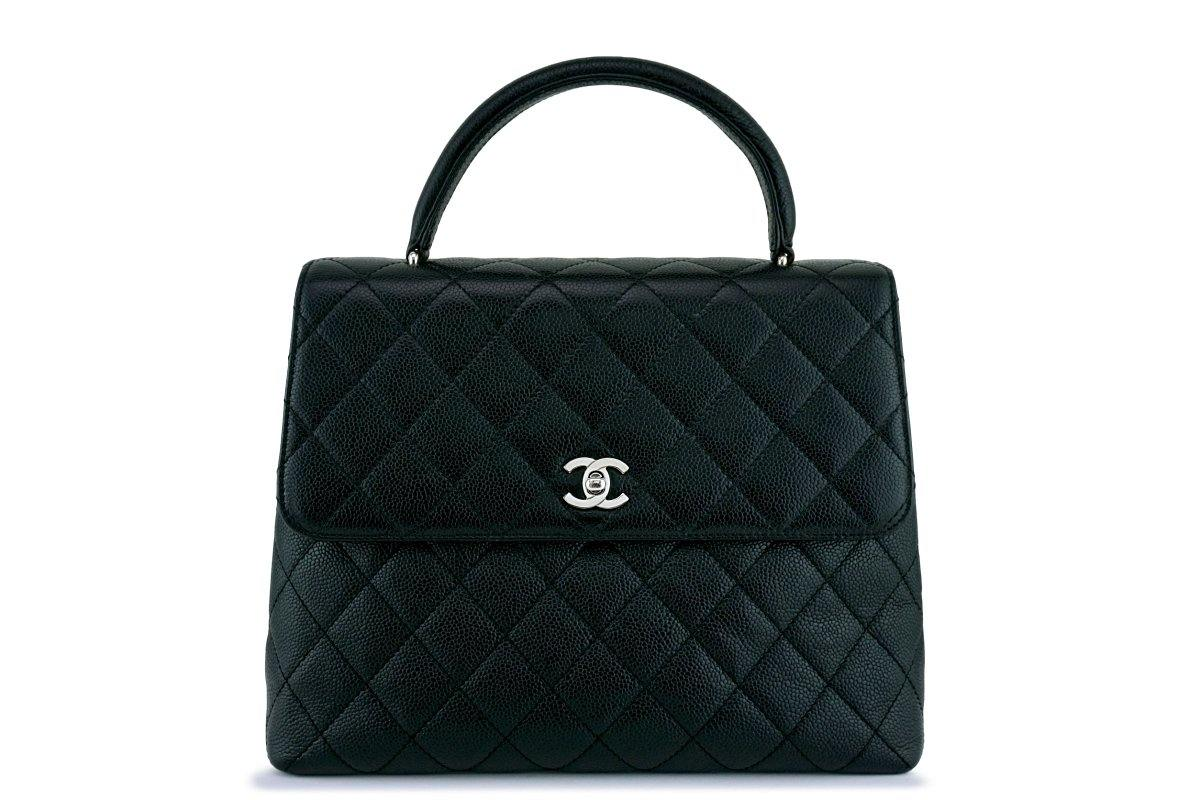Chanel Black Large Caviar Classic Quilted Kelly Flap Bag SHW