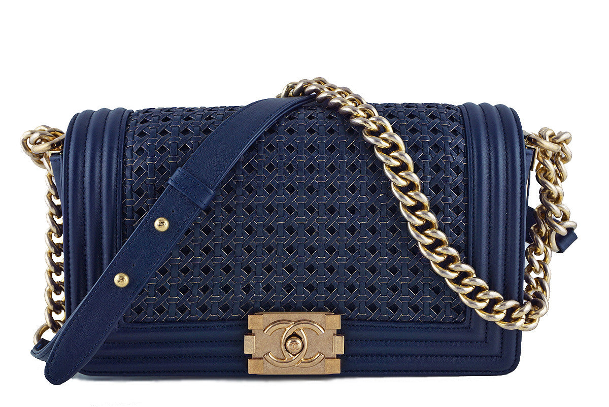 Chanel Boy Bag, Navy Blue Medium Gold-Trimmed Woven Flap