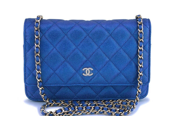 NIB 19S Chanel Iridescent Blue Caviar Classic Wallet on Chain WOC GHW