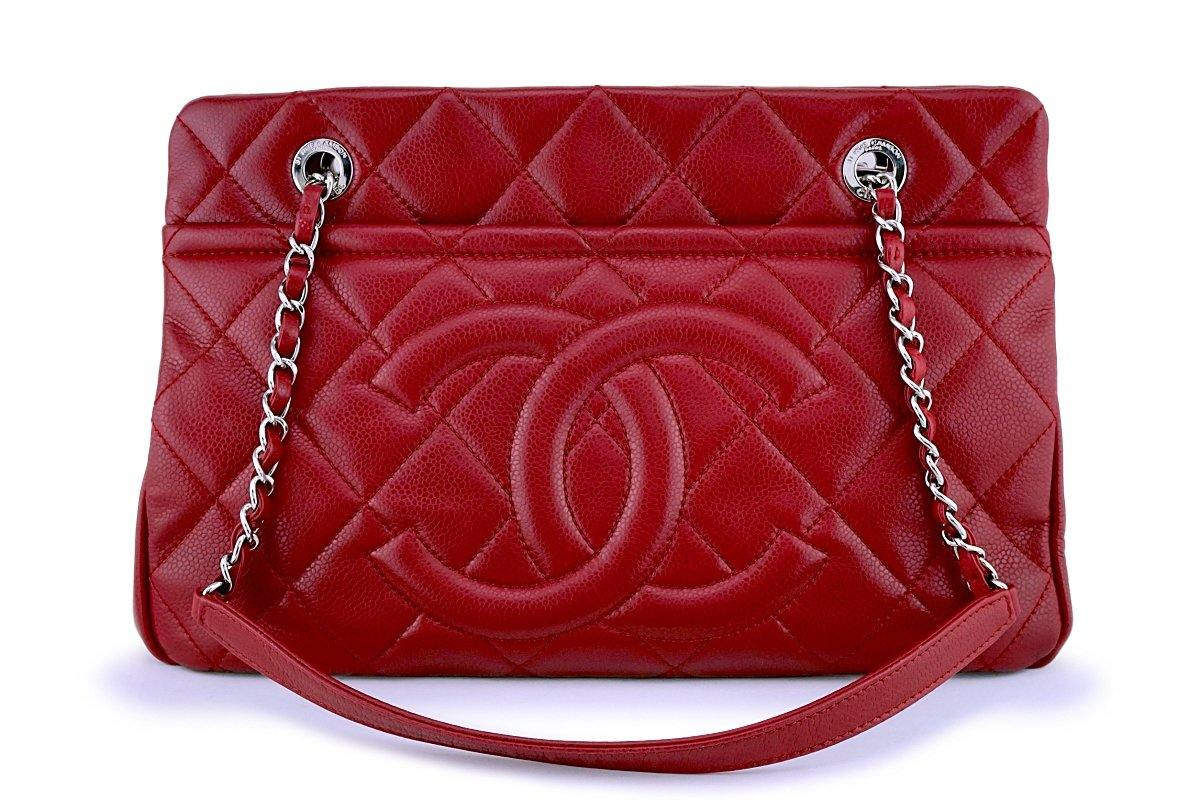 Chanel Red Caviar Timeless Classic Logo Tote Bag SHW