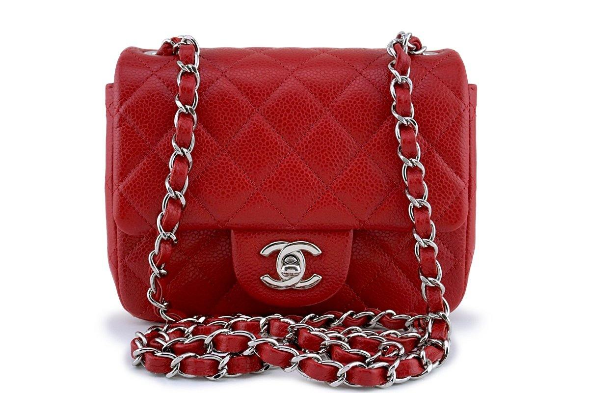 Chanel Red Caviar Classic Quilted Square Mini 2.55 Flap Bag SHW