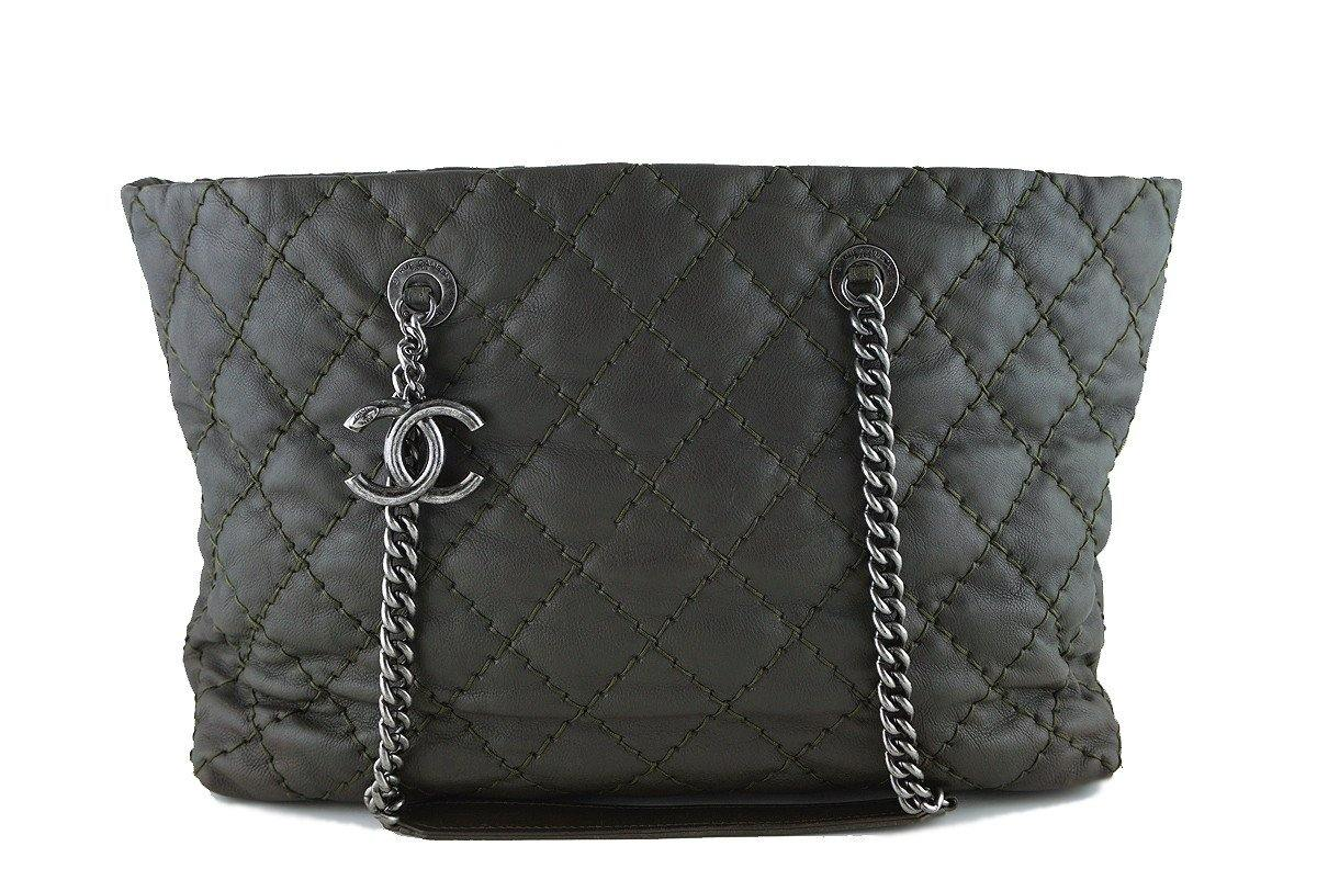 Chanel Khaki/Olive Quilted Classic Shopper Boy Chain Tote Bag