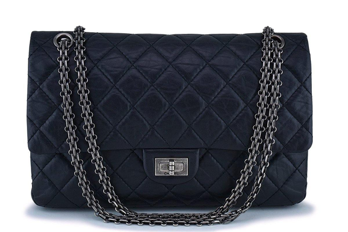 5ea0f744c9a1 Chanel Black 226 Large Reissue 2.55 Classic Double Flap Bag RHW
