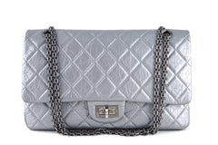 Chanel Silver-Gray 12in. 227 Reissue 2.55 Jumbo Classic Double Flap Bag - Boutique Patina  - 1