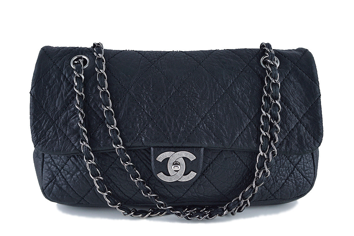 Chanel Black Le Marais Pebbled Quilted Classic Jumbo Flap Bag