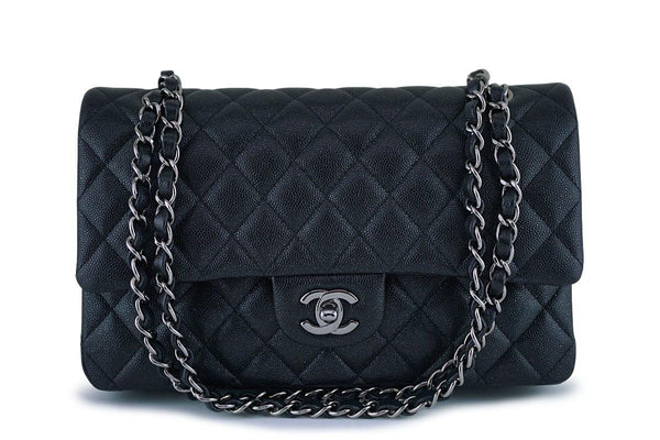 New 18C Chanel Iridescent Black Caviar Medium Classic 2.55 Double Flap Bag