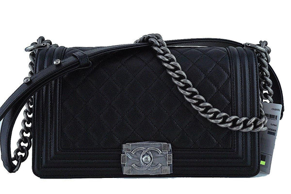 NWT 17P Chanel Black Le Boy Classic Flap, Medium Caviar Bag