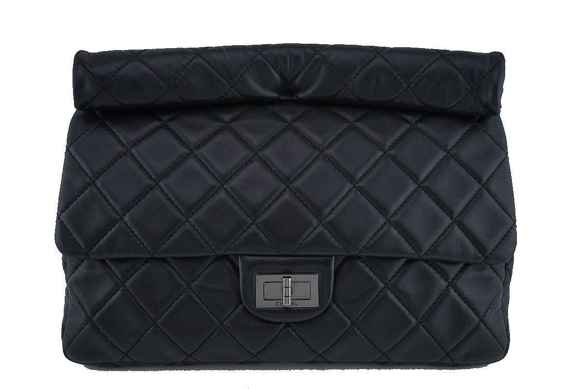 Chanel Black Classic Quilted Reissue Clutch Flap Purse Bag RHW